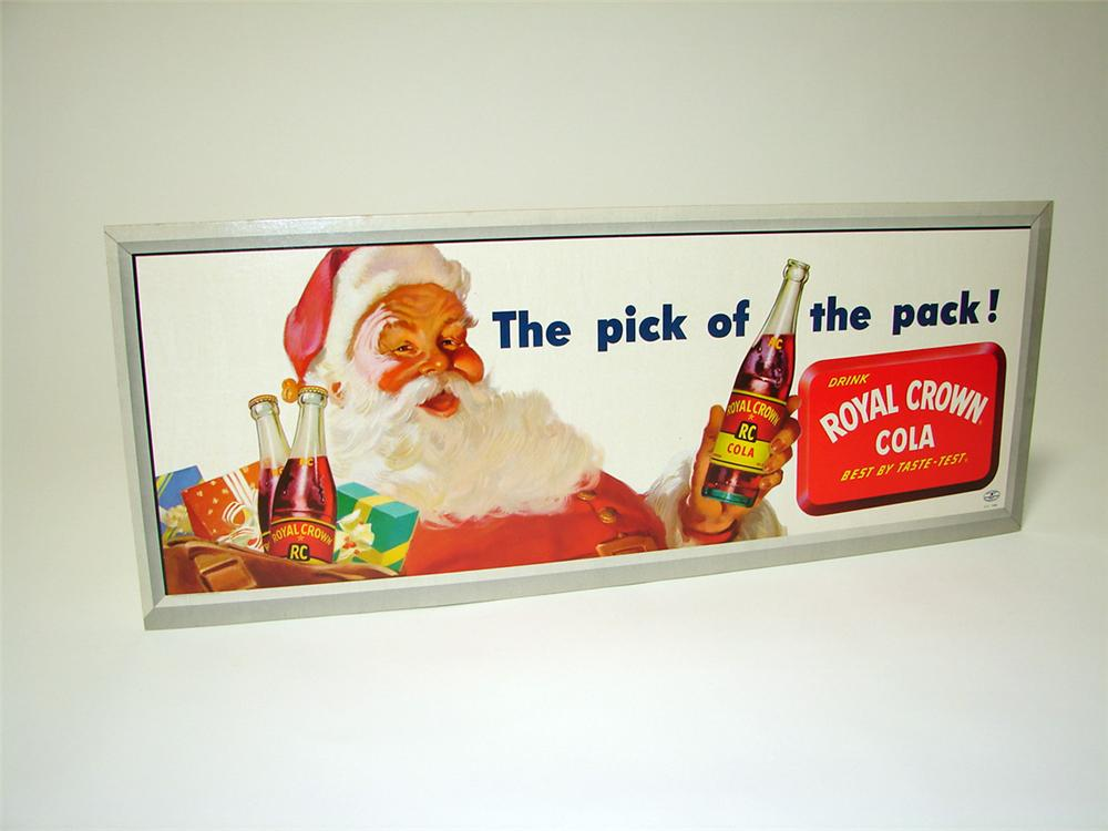 N.O.S. 1950s Royal Crown Cola single-sided cardboard sign with Santa. - Front 3/4 - 97624