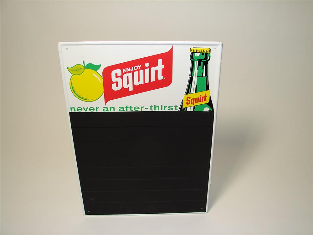 N.O.S. 1960s Squirt Soda tin menu-board sign with embossed bottle graphic. - Front 3/4 - 97625