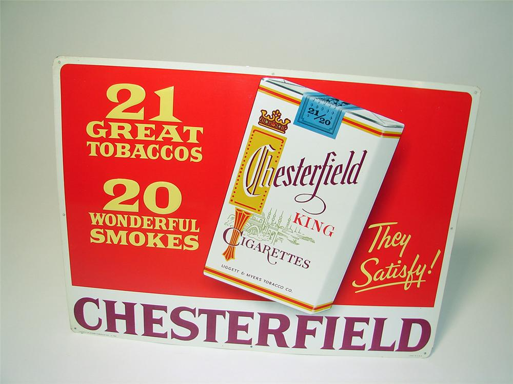 N.O.S. 1958 Chesterfield Cigarettes single-sided tin painted garage sign with cigarette pack graphic. - Front 3/4 - 97626