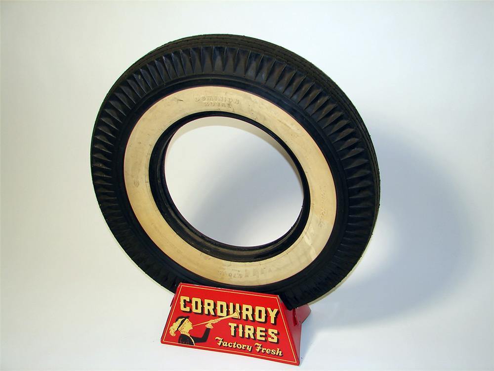 N.O.S. 1940s Corduroy Tires service station tire display stand complete with period tire. - Front 3/4 - 97628