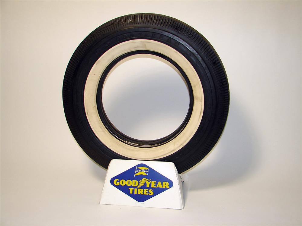1950s Goodyear Tires dealership tire display stand complete with period Goodyear Tire. - Front 3/4 - 97629