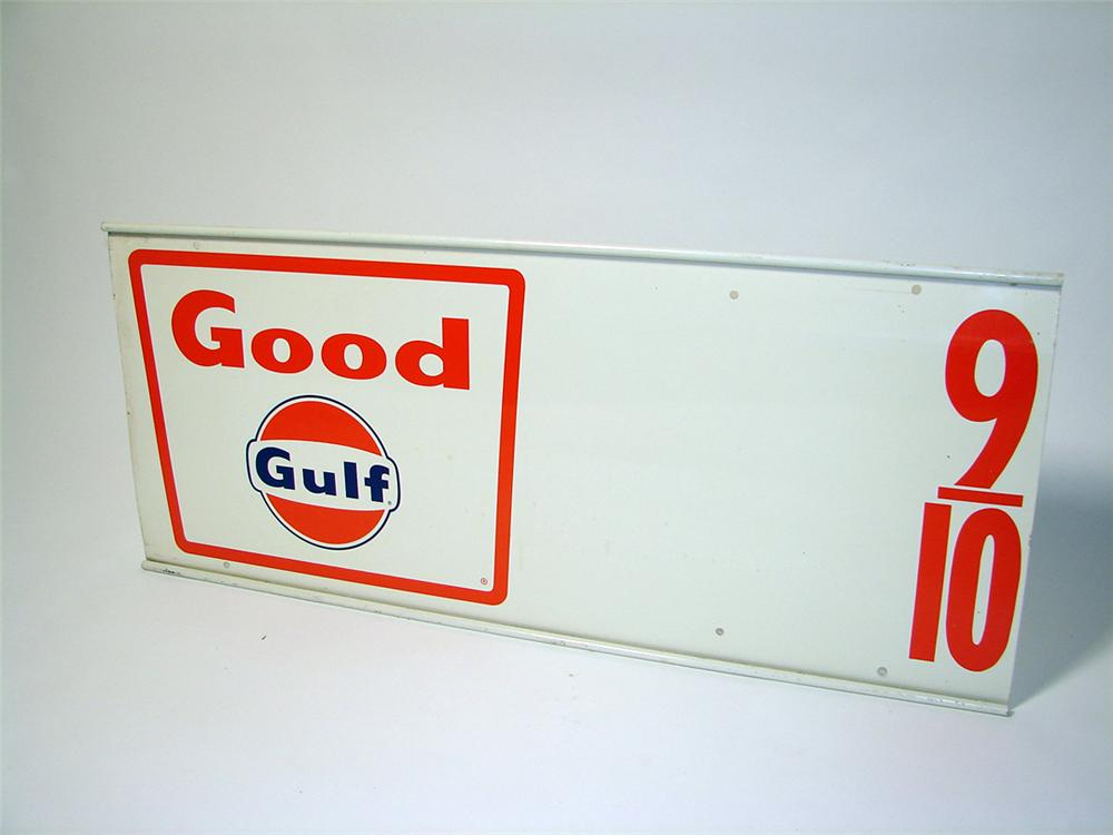 N.O.S. 1960s Good Gulf Gasoline service station metal price sign. - Front 3/4 - 97631