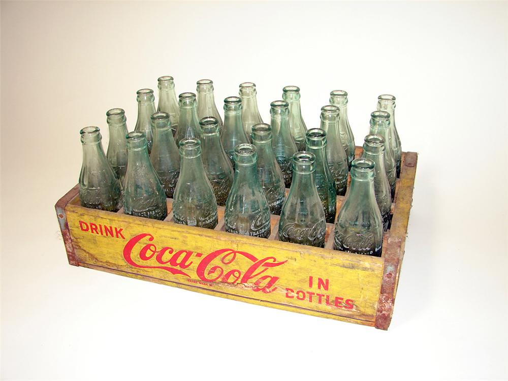1940s-50s Coca-Cola wooden case filled with period embossed hobble skirt bottles. - Front 3/4 - 97632