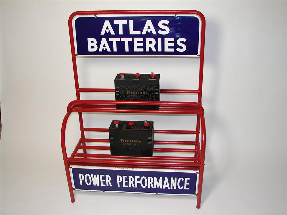 "Very neat 1940s-50s Atlas Batteries ""Power Performance"" service station display rack with porcelain signs. - Front 3/4 - 97634"