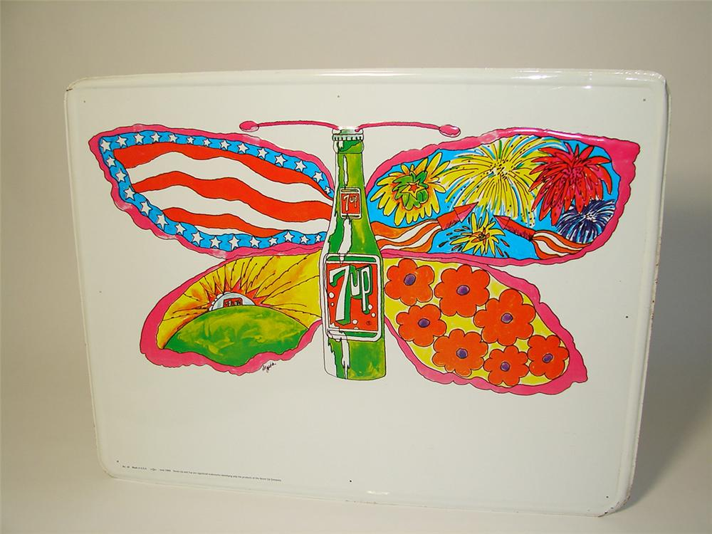 N.O.S. 1969 7-up Soda single-sided tin sign with beautiful Peter Max-esque artwork. - Front 3/4 - 97635