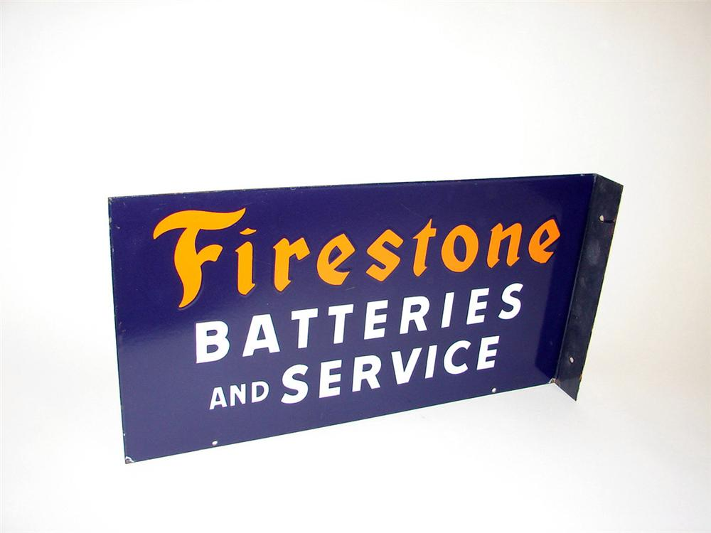 Elusive 1940s Firestone Batteries and Service porcelain garage flange. - Front 3/4 - 97641