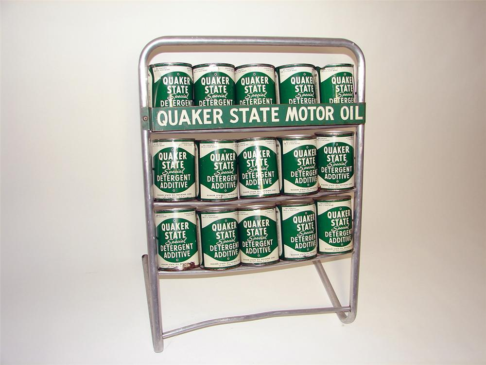 Choice 1950s Quaker State service station island oil rack display filled with 15 N.O.S  Period metal quarts. Condition: Exce... - Front 3/4 - 97647