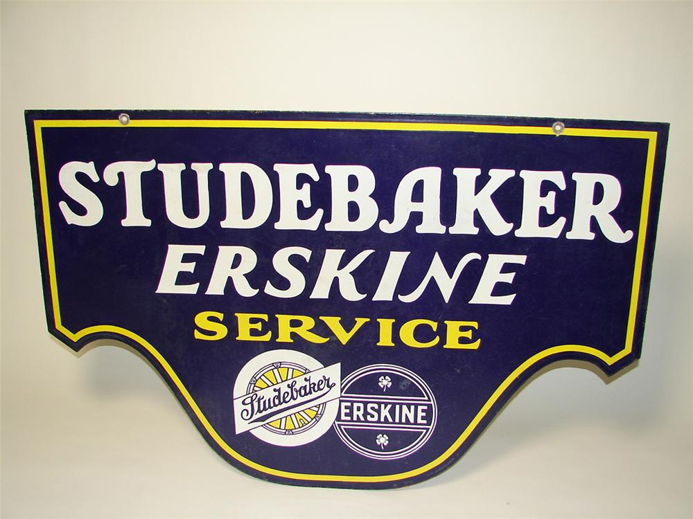 Rare Studebaker-Erskine double-sided porcelain dealership sign. - Front 3/4 - 97649
