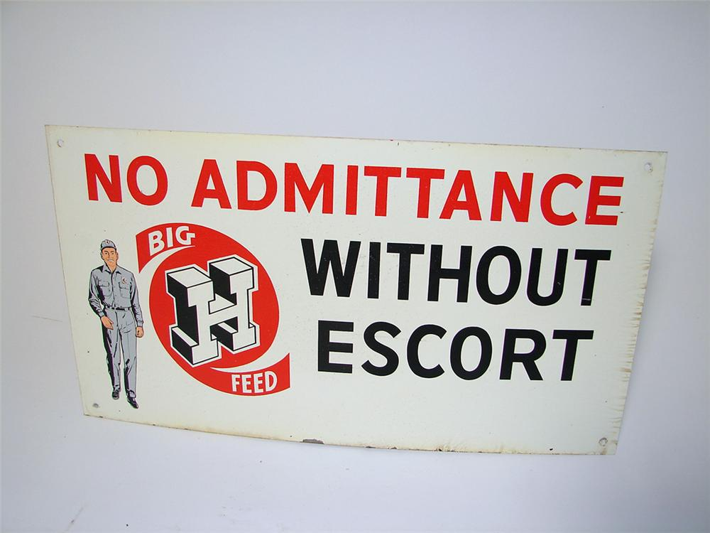 "1950s Big H Feeds single-sided tin painted ""No Admittance"" sign. - Front 3/4 - 97653"