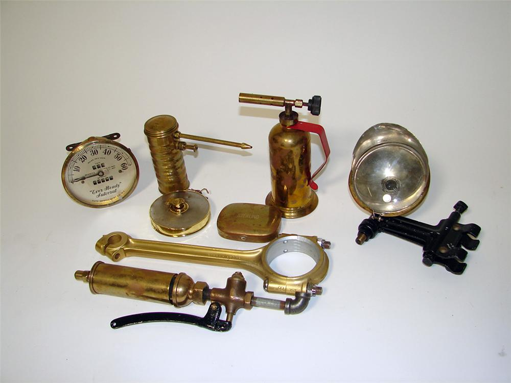Lot of Automobile Brass Era service garage pieces all composed of brass. - Front 3/4 - 97654