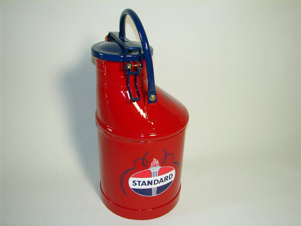 "Wonderfully restored 1920s-30s Standard Oil embossed bulk oil can embossed Standard Oil of Indiana"". - Front 3/4 - 97657"