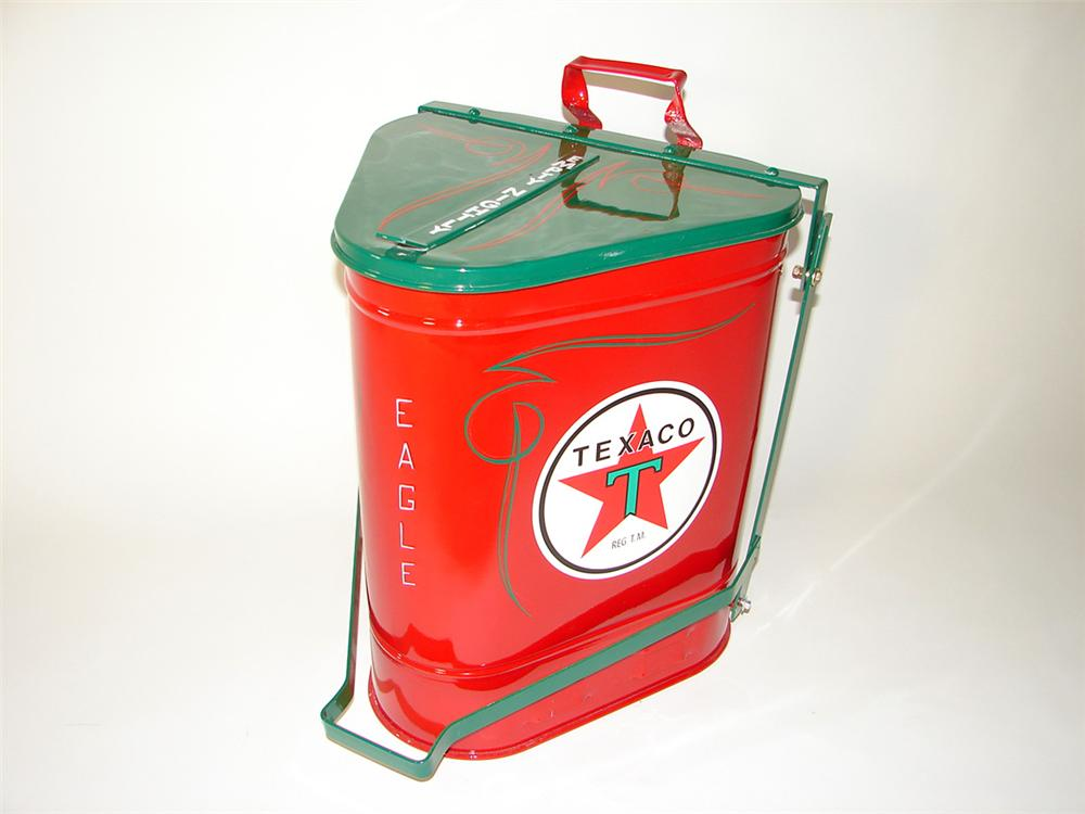 Beautiful 1930s Texaco Oil service department oil rag can with foot lever. - Front 3/4 - 97660