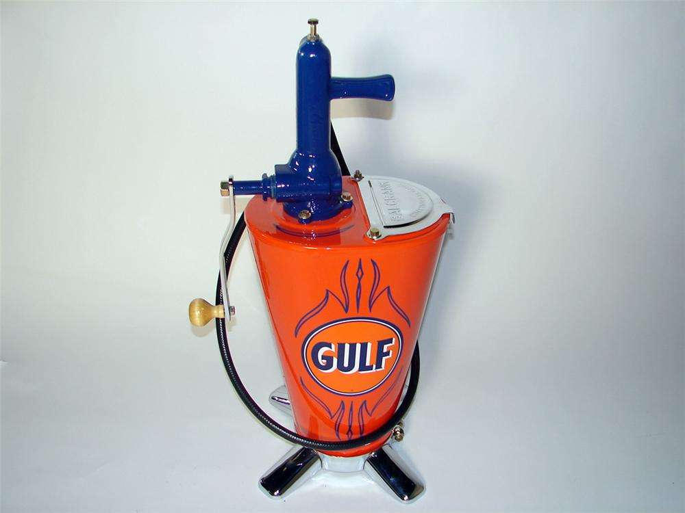 1930S Gulf Oil service department five gallon hand crank Balcrank greaser. - Front 3/4 - 97669