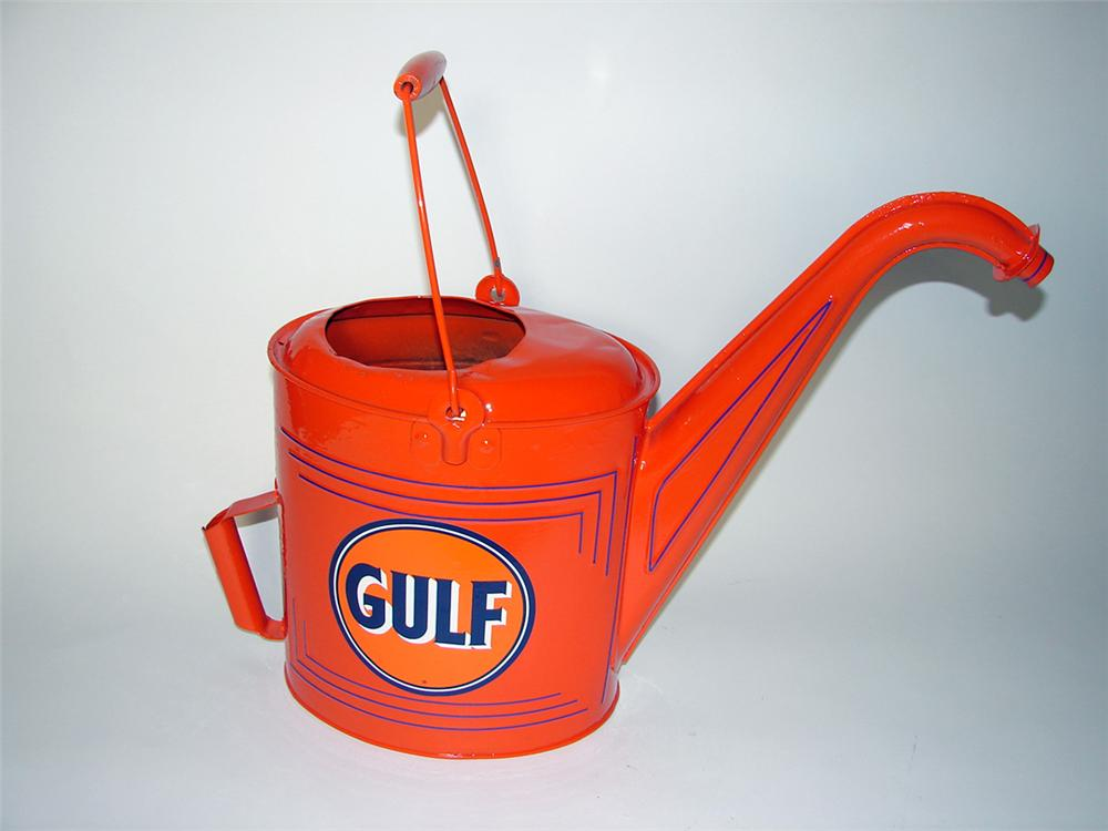 1920s Gulf Oil service department radiator servicer/water can with art deco lines. - Front 3/4 - 97676