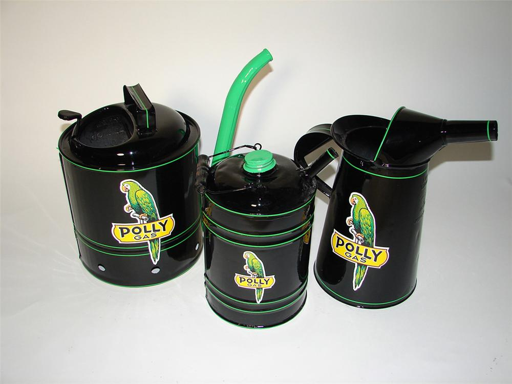 Lot of three restored 1930s Polly Oil service department various bulk oil cans. - Front 3/4 - 97677
