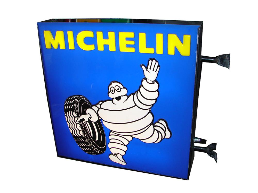 Large 1950s-early 60s Michelin Tires double-sided light-up garage sign featuring Bibedum (Michelin Man). - Front 3/4 - 97685