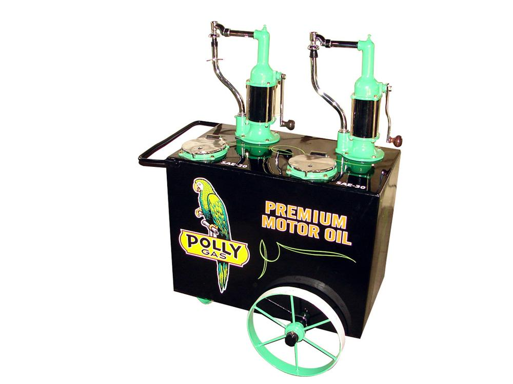 Magnificent 1920s-30s Polly Filling Station double-head oil cart on wheels. - Front 3/4 - 97746