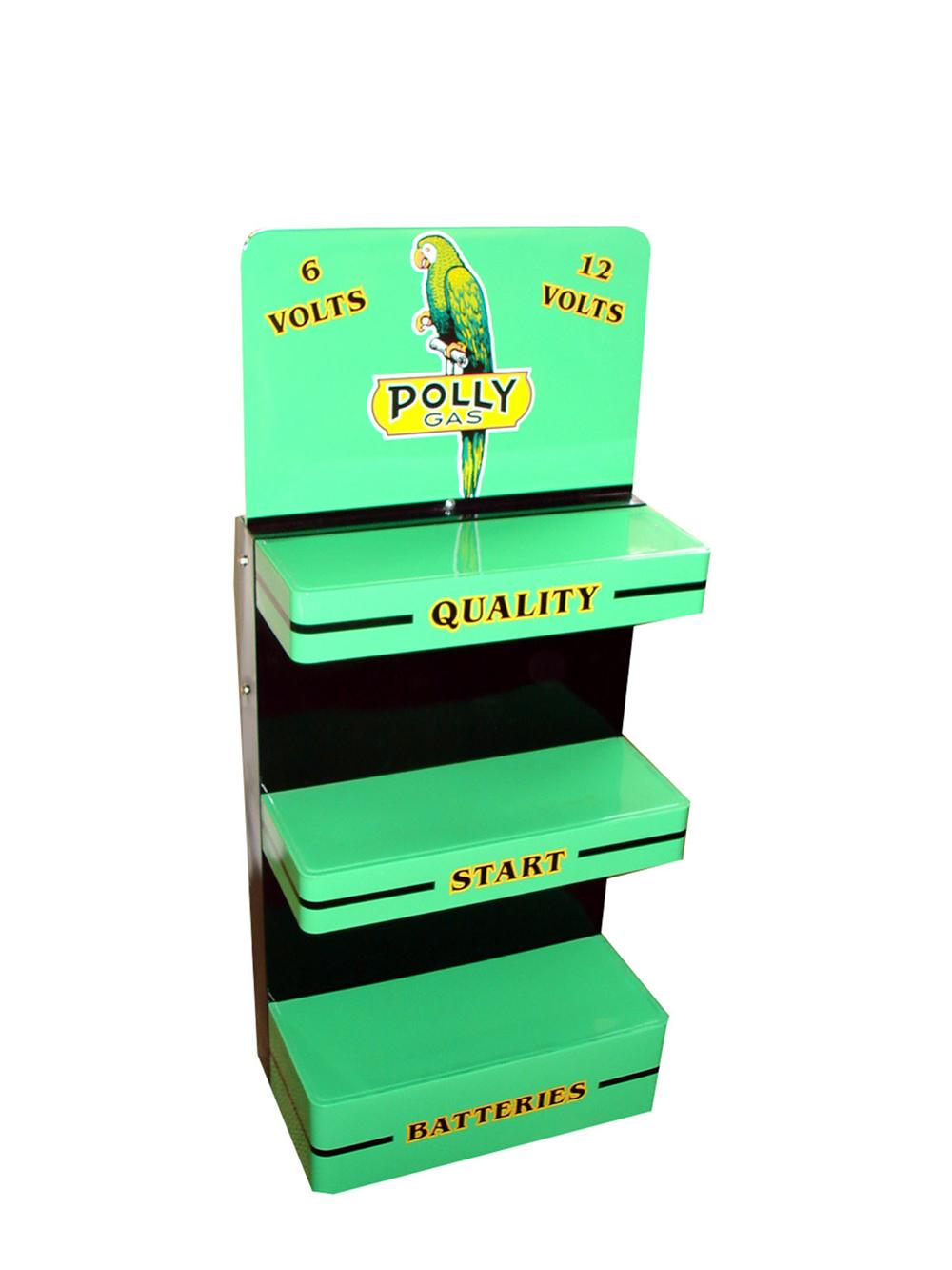 Nicely restored 1940s-50s Polly service station Battery display rack. - Front 3/4 - 97747