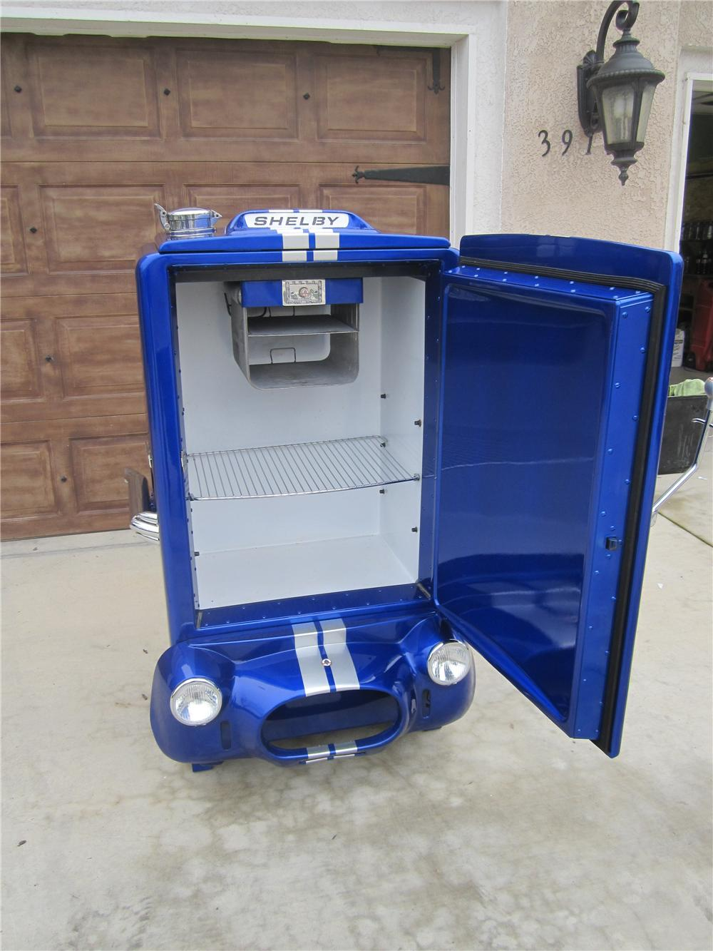 "One of a kind, ""Coberator."" 1950s restored General Electric Refrigerator - Rear 3/4 - 97749"
