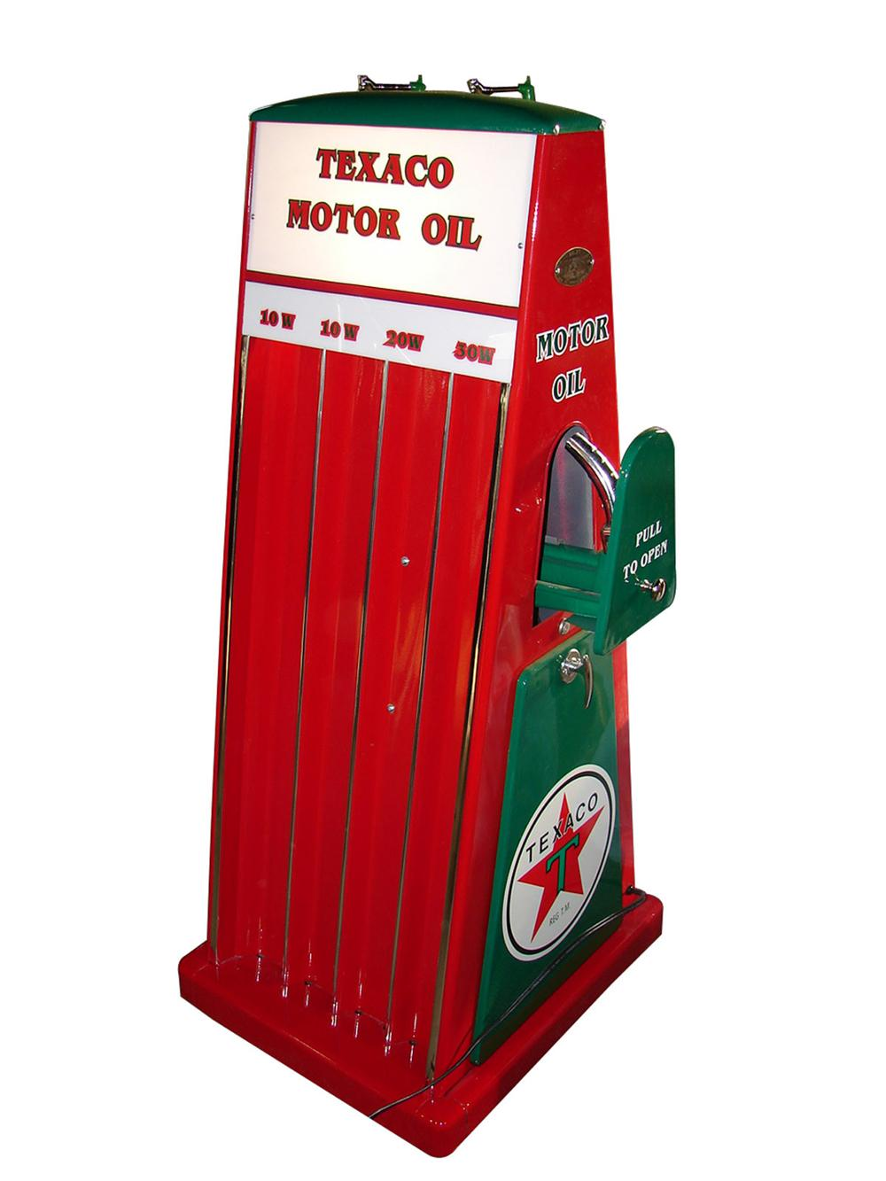 Outstanding 1940s-50s Texaco Motor Oil service station fuel island oil can display cabinet - Front 3/4 - 97750