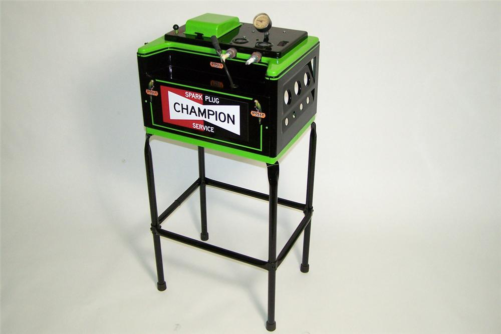 1950s Champion Spark Plugs restored spark plug cleaner in Polly Gas regalia. - Front 3/4 - 97752
