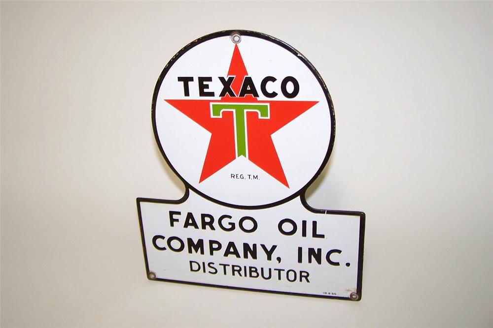 N.O.S. 1955 Texaco Fargo Oil Company single-sided porcelain truck plate sign. - Front 3/4 - 97754