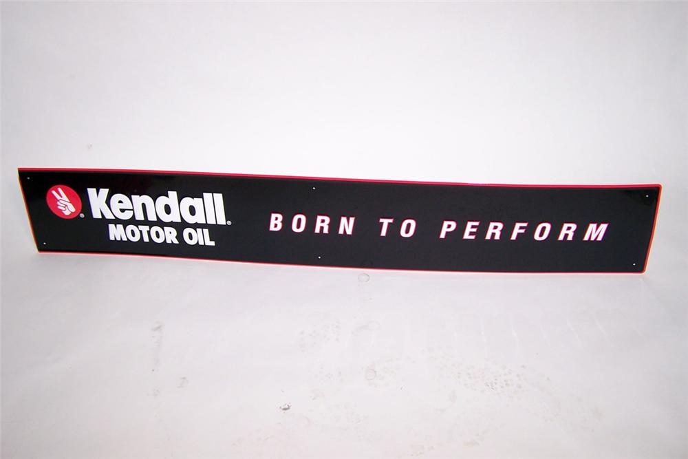 "N.O.S. Kendall Motor Oil ""Born to Perform"" single-sided tin embossed garage sign. - Front 3/4 - 97755"