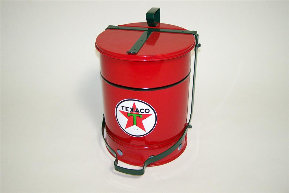 Perfectly restored 1930s Texaco Oil service department oil rag storage can with foot lever. - Front 3/4 - 97756