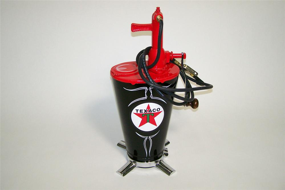 Immaculate 1920s-30s Texaco Oil five gallon restored service department hand pump greaser. Absolutely stunning! - Front 3/4 - 97757