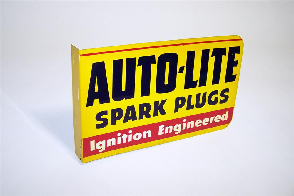 N.O.S. 1950s Auto-Lite Spark Plugs tin painted garage sign. - Front 3/4 - 97764