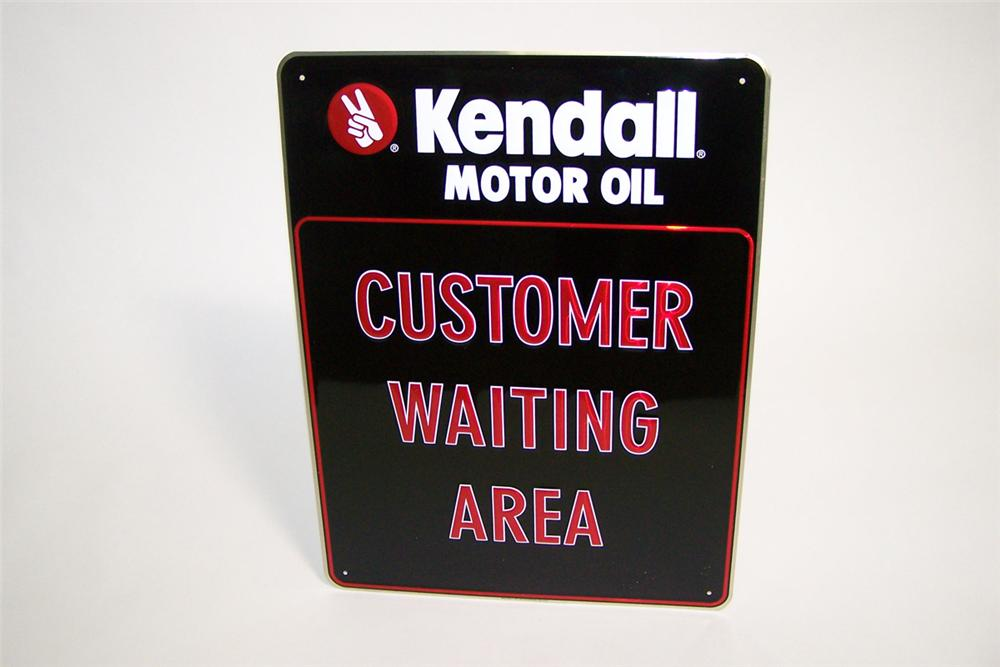 "N.O.S. Kendall Motor Oil ""Customer Waiting Area"" single-sided tin embossed general store sign. - Front 3/4 - 97767"