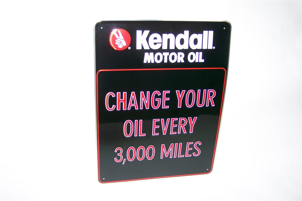 "N.O.S. Kendall Motor Oil ""Change Your Oil"" single-sided tin painted garage sign. - Front 3/4 - 97769"