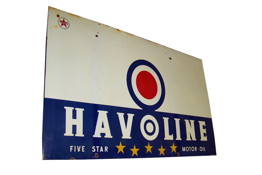 Large 1950s Texaco Havoline Five Star Motor Oil single-sided porcelain garage sign. - Front 3/4 - 97772