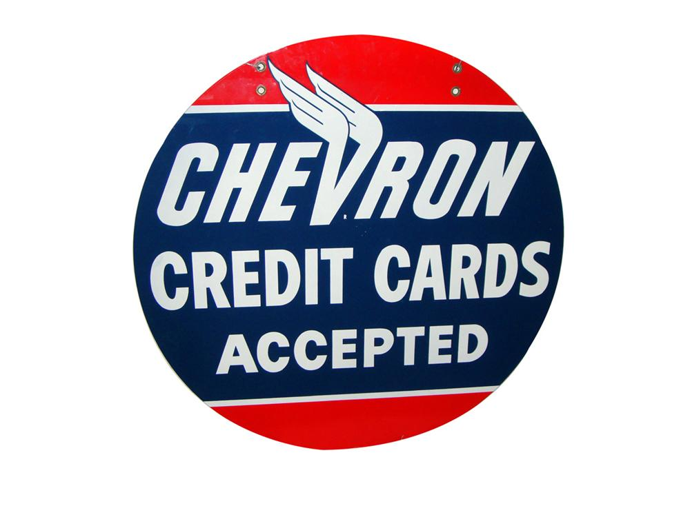 1950s Chevron Credit Cards double-sided porcelain service station sign. - Front 3/4 - 97776