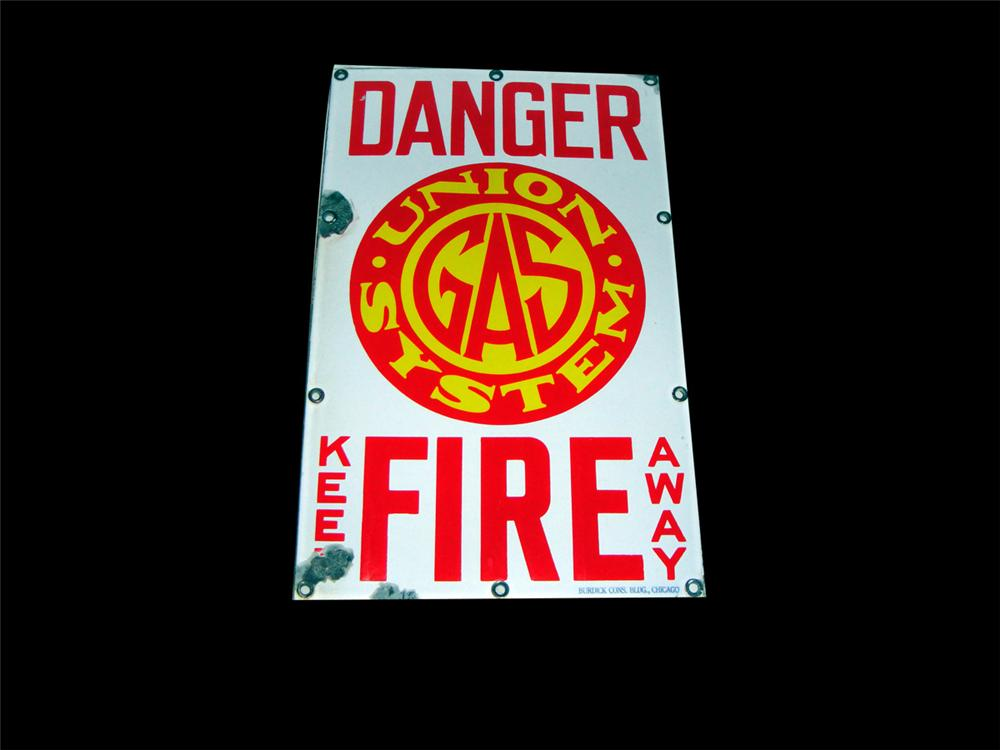 "1930s Union Gas System ""Danger - Fire"" single-sided porcelain sign. - Front 3/4 - 97777"
