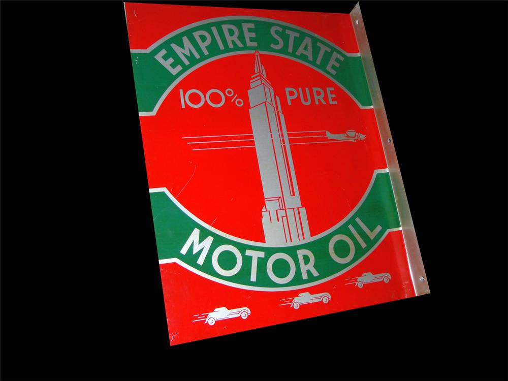Seldom seen 1930s Empire Motor Oil double-sided tin garage flange sign with great graphics and colors. - Front 3/4 - 97779