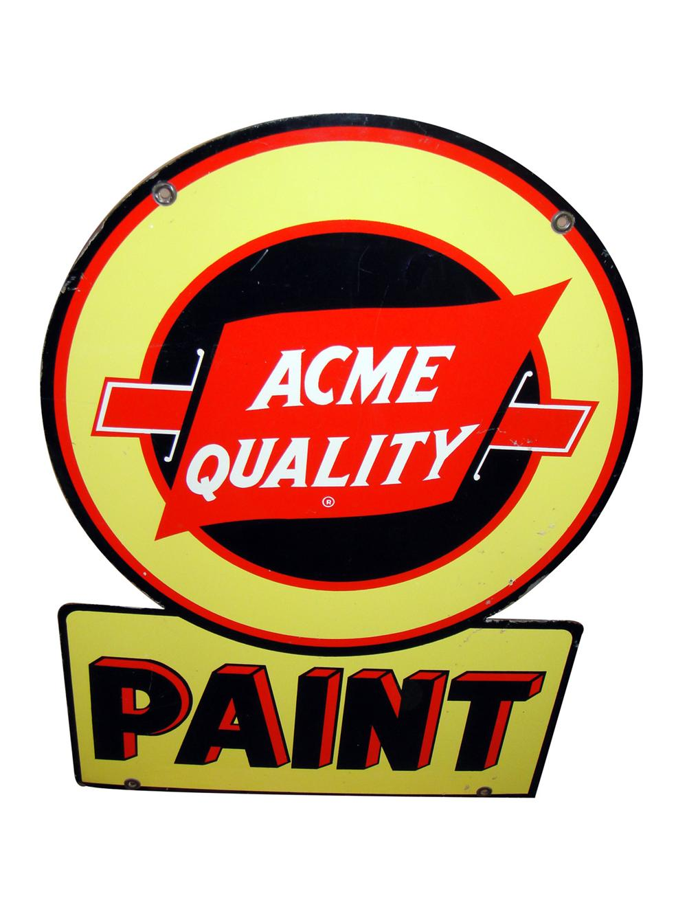 Very nice 1940s Acme Quality Paint double-sided tin general store sign. - Front 3/4 - 97782