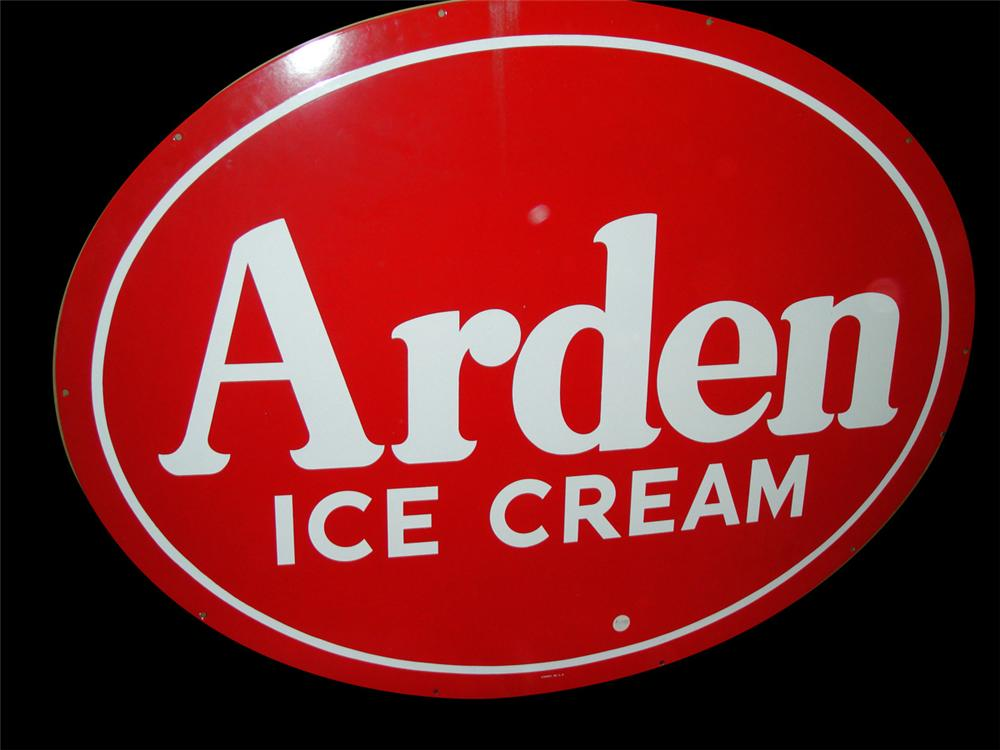 1950s Arden Ice Cream single-sided porcelain fountain sign. - Front 3/4 - 97784