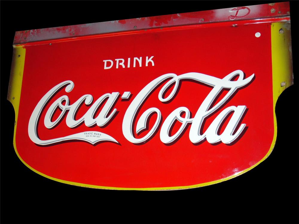 Large1930s Drink Coca-Cola double-sided porcelain general store sign. - Front 3/4 - 97790