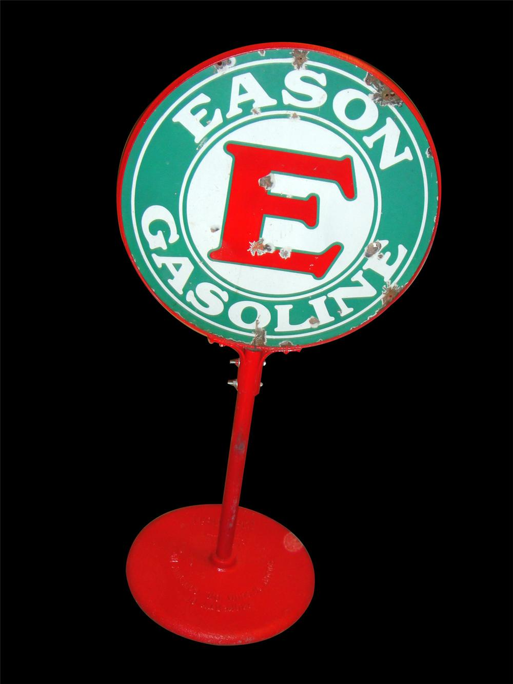 Nearly impossible to find 1930s Eason Gasoline double-sided porcelain service station curb sign. - Front 3/4 - 97791