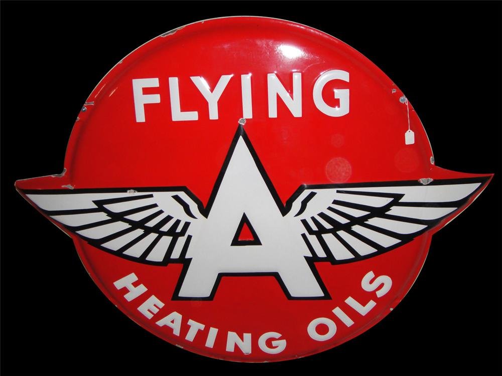 Scarce 1950s Flying A Heating Oils convexed porcelain service station sign. - Front 3/4 - 97793