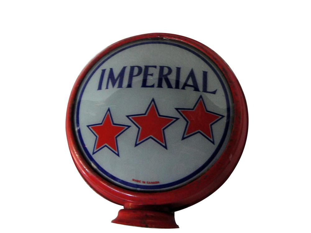 "Rare 1920s Imperial Gasoline 16.5"" glass lens with original metal body gas pump globe. - Front 3/4 - 97798"