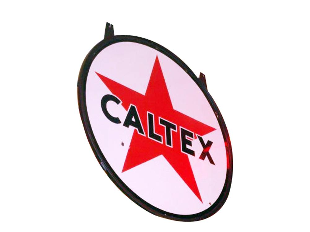 Large 1950s Caltex (California Texas) Gasoline double-sided porcelain service station sign - Front 3/4 - 97801