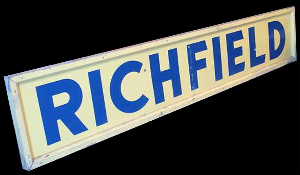 Extremely hard to find 1940s Richfield Oil double-sided porcelain service station sign in original wood frame. - Front 3/4 - 97802