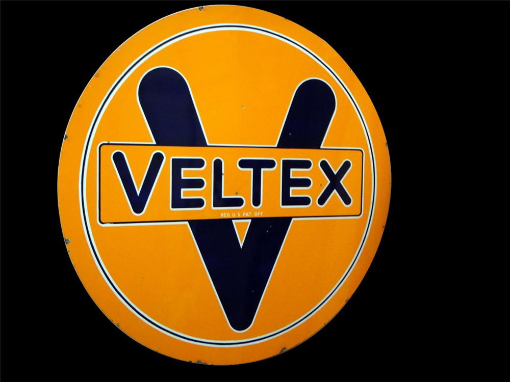 Hard to find 1930s Veltex Motor Oil double-sided porcelain service station sign. - Front 3/4 - 97803