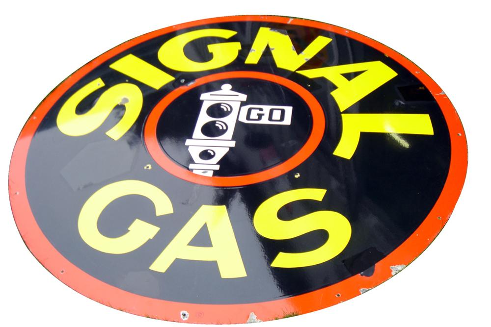 Striking and large Signal Gasoline double-sided porcelain service station sign. - Front 3/4 - 97805