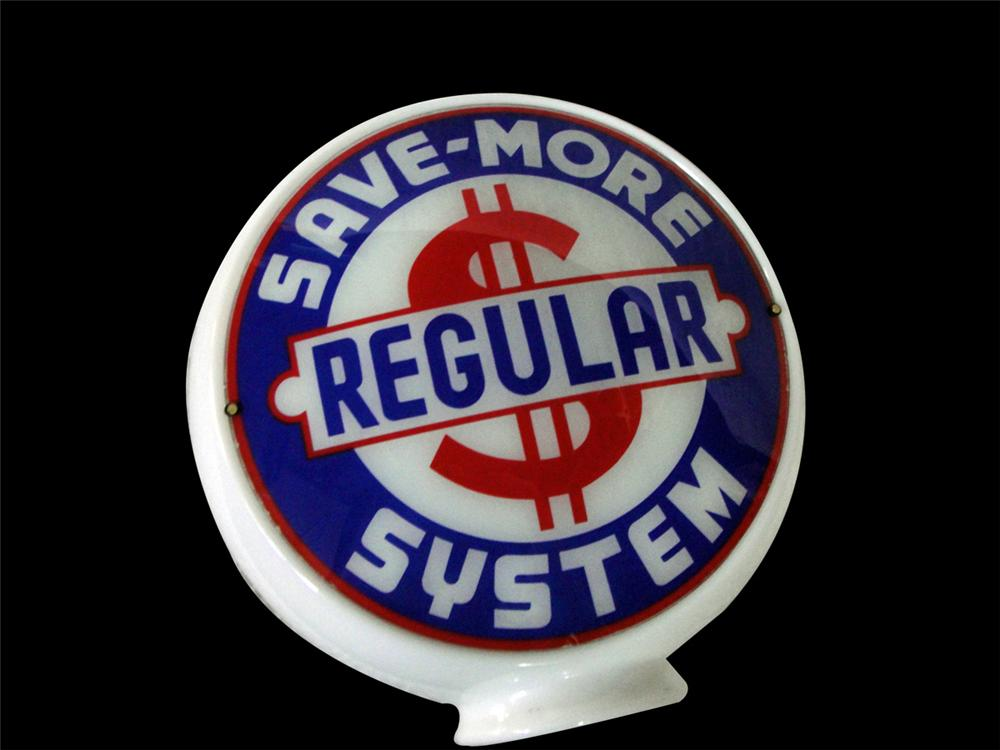 Very desirable Save-More Systems Regular Gasoline gill body milk glass gas pump globe. - Front 3/4 - 97806