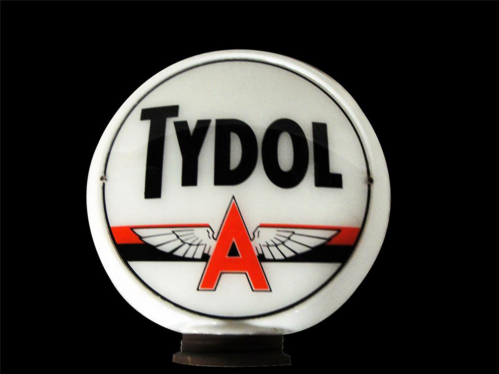 Terrific 1940s Tydol Associated Flying A Gasoline milk glass gas pump globe - Front 3/4 - 97807