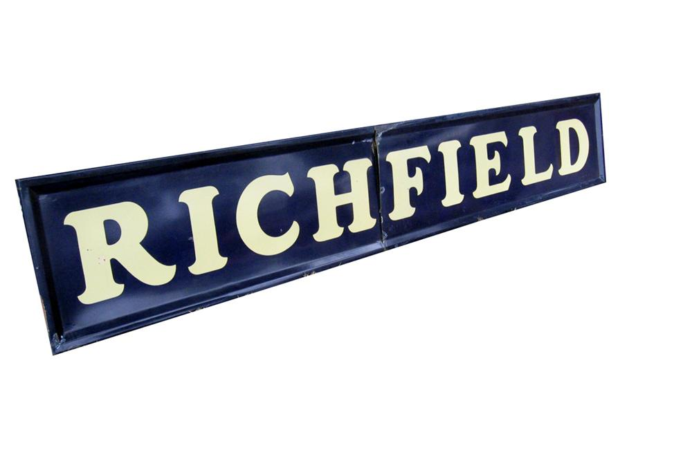 1940 Richfield Oil single-sided porcelain self-framed service station sign. - Front 3/4 - 97809