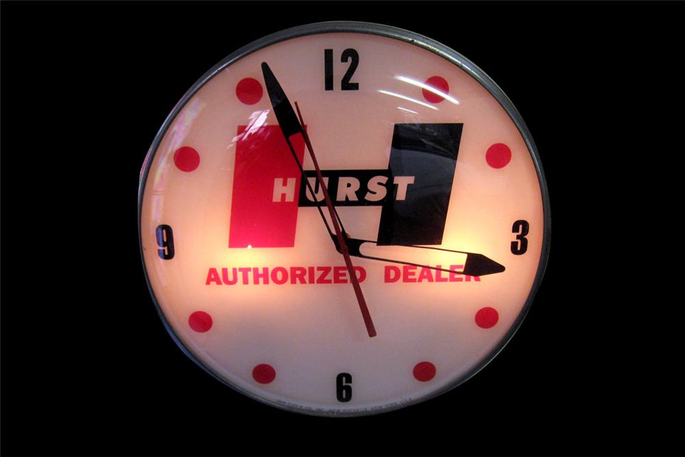 Fantastic 1960s Hurst Shifters Authorized Dealer light-up garage clock by Pam. - Front 3/4 - 97812